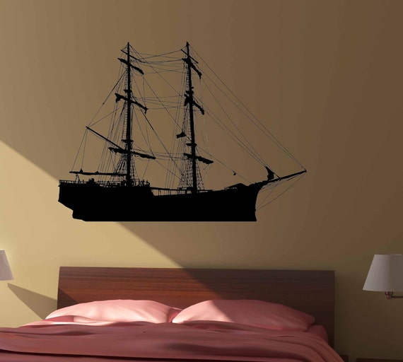 Ship Wall Art-  Removable Vinyl Decal, 28x38, Wall Sticker, Pirate, Nautical, Sail, Boat