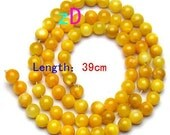 Sunny Yellow Shell Round Beads - 5mm- 10 Pieces