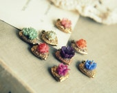 Mystery heart vintage flower charm lot. reserved for kate