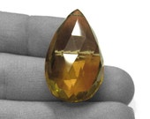 Wonderful AA big beer quartz faceted briolette 27x17.5mm