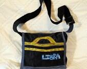 SALE Libra Embroidary messenger tote purse handmade