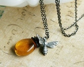 Honey Bee Necklace, Silver Bumblebee Charm, Amber Glass Drop