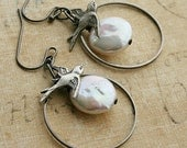Full Moon earrings-- Sparrows and Coin Pearls