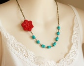 Turquoise and Red Flower Necklace