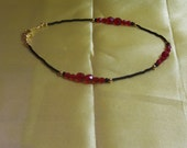 Red Faceted Glass Bead Ankle Bracelet