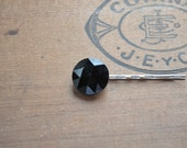 Black Bling Vintage Button Bobby Pin