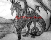 high quality print of my original pen and ink drawing dragon 1 by Kate Sjoberg