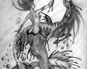 high quality print of my original pencil drawing mermaid and sea horse by Kate Sjoberg
