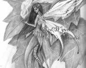 high quality print of my original pencil drawing fairy 1 by Kate Sjoberg