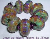Beau Hawn ADDICT Handmade Lampwork Boro Glass Artisan Beads borosilicate bead MiNt GrEEn PuRpLe HaZe