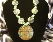 Green, turquiose, chunky, cowgirl, bling, country, western, Copenhagen necklace