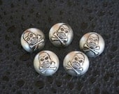 Silver Plastic Skull and Crossbones Pirate Buttons Cabochons - 5 Count
