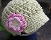 PATTERN in PDF Crocheted Visor Beanie with flower - celery, rose pink, pastel pink, yellow