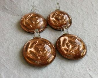 Set Of 4 Goldsand Glitter Glass Pendants