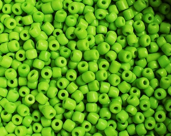 50g Large Light Green / Lime Green Opaque Glass Seed Beads