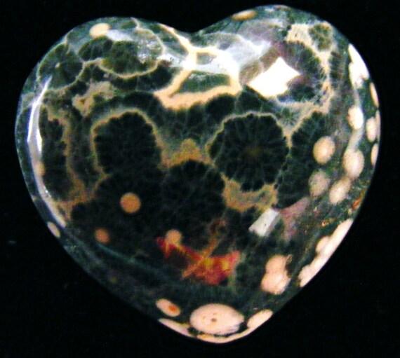 DOUBLE SIDED PUFFEY OCEAN JASPER HEART  CABOCHON TES