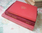 Collection Classical Books Red Trio Vintage Art and Literature