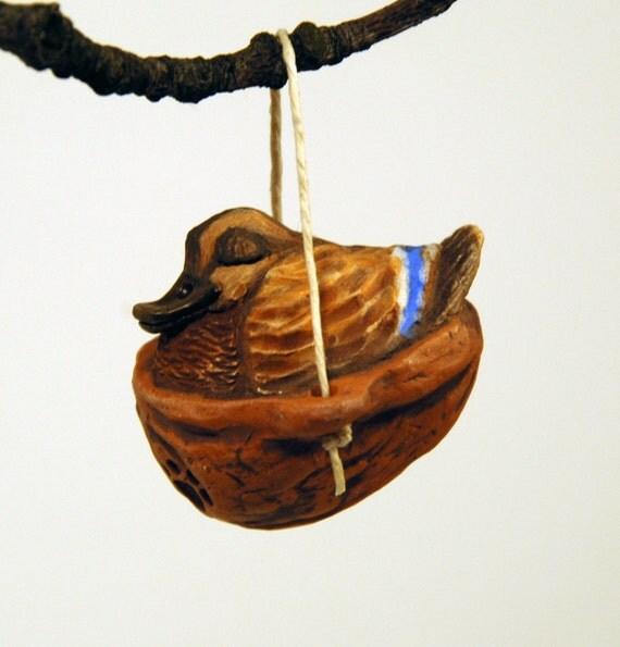 sleeping mallard ornament