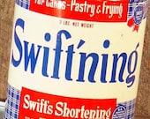 Swift's Shortening Vintage Tin Box Canister 1960s Mid Century Farmhouse Kitchen Vintage Storage Organizer USA