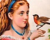 Mary's Friend Robin 1887 Vintage Victorian Chromolithograph Children's Art  Illustration For Framing