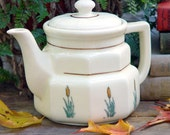 Teapot Cat O Nine Tails Prestige China Four Cup Octagon Shape Depression Era Cream and Green