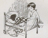 Sick Doll Mother Goose Illustration and Verse 1936 Children's Nursery Print To Frame USA Deperssion Era