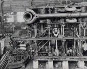 Titanic Triple Expansion Marine Steam Engine 1912 Rotogravure Antique Machine Rotogravure