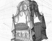 French State Bed With Canopy Thomas Sheraton Vintage Drawing Of Oppulent Furniture To Frame