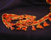 Vintage Tassel Fringe Trim  Spicy Orange Yellow Two Yards 1970s Retro New Old Stock NOS