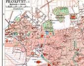 Frankfurt Germany Map 1906 Antique Edwardian Steel Engraving Vintage European City Cartography To Frame