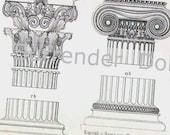Columns Capitals Greek Roman Architecture 1887 Victorian Chart Illustration To Frame