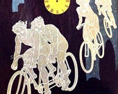 Stern Tandem Bicycle Ghost Riders 1913 Germany Vintage Art Nouveau Lithograph Poster Transportation Ad To Frame