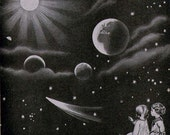 Children In Space Astronomy Lessons Chart 1920s American Children Vintage Art Perfect For Framing