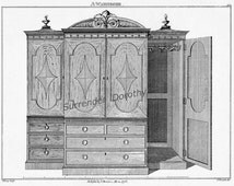 Wardrobe Cabinet & Wash Stands Thomas Sheraton Technical Drawing Vintage Furniture Plans To Frame