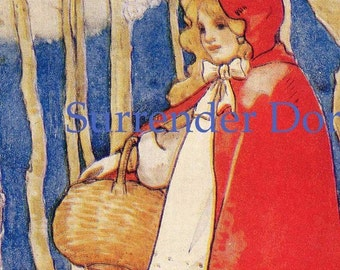 Little Red Ridinghood Children's Nursery Lithograph Illustration To Frame 1929 Original