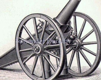 Cannons Weapons Of War 1887 Vintage Victorian Era Military Engravings From Germany