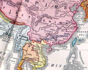Map Asia 1903 Vintage Edwardian Era Gorgeous Brightly Colored Antique Chart To Frame