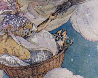 Old Mother Goose Sweeping Cobwebs From The Sky Original 1920s Vintage Nursery  Illustration