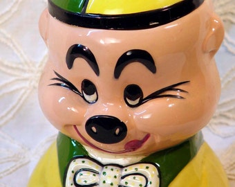 Vintage Pig Cookie Jar Yellow Green Retro Kitsch Kitchen Storage Serving