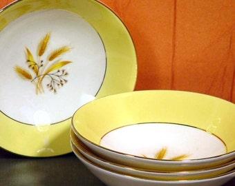 Autumn Gold Fruit  Desert Bowls Century Service Corp Vintage Set  Four 22K Gold circa 1950s Homer Laughlin
