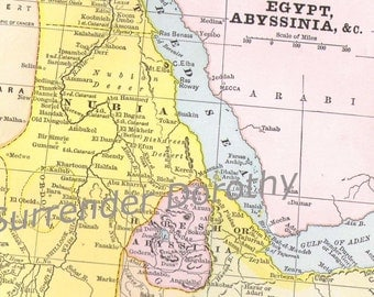 Egypt Abyssinia Africa Map Holy Lands 1887 Victorian Era Aquatint Pastel Cartograpy To Frame