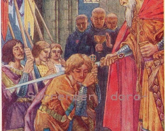 Knighted By King Sigmund 1920s Original Vintage Children's Lithograph Illustration To Frame