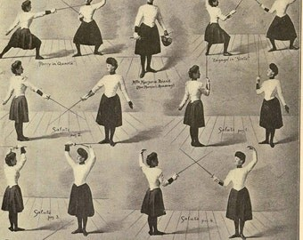 Salute Chief Movements Women's Fencing Vintage 1920s Fitness Photogravure Athletic Chart To Frame