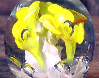 Freesia Paperweight  Yellow  White Orange Handmade Lead Crystal 1970s Home Decor