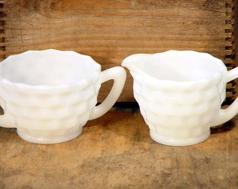 Hazel Atlas Cubist Pattern Open Sugar Bowl Creamer Set Vintage Milk Glass Kitchen Serving Mid Century USA