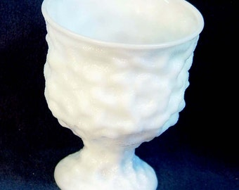 Milkglass Footed Compote Vase Brody 1960s Mid Century Vintage Home Wedding Decor