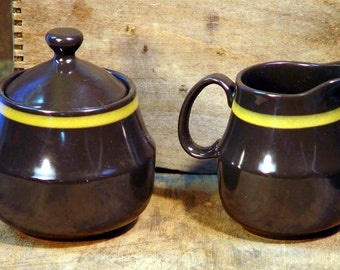 Mikasa Majorca Sugar Bowl Creamer Set  Vintage 1979 Classic Brown and Gold Retro Kitchen Ware
