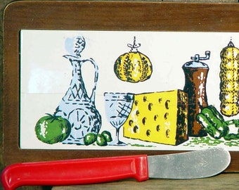 Vintage Retro Cheese Board Mid Century Party & Kitchen Serving Ware Wood Ceramic 1960s