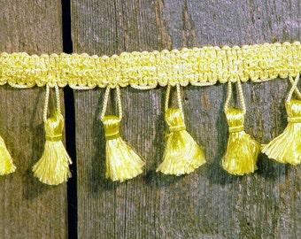 Vintage Sweet Canary Yellow Tassel Fringe 2 Yards NOS