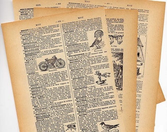 Vintage French Dictionary 12 Pages 1940s Set For Altered Art, Mixed Media Jewelry Collage